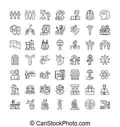 ベクトル, ミーティング, サイン, セット, アイコン, 管理, 線, シンボル, イラスト, 線である