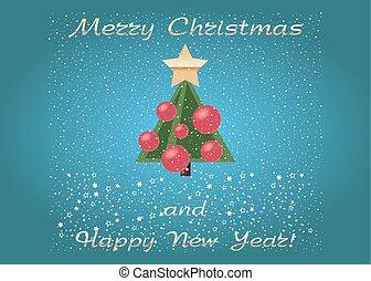 ベクトル, メリークリスマス, そして, 新年おめでとう, postcard., 漫画, 緑の木, ∥で∥, snow., 挨拶, card.