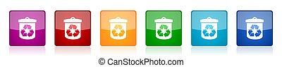 ベクトル, モビール, 6, 広場, アイコン, グロッシー, デザイン, アプリケーション, イラスト, セット, 網, リサイクルしなさい, オプション, カラフルである