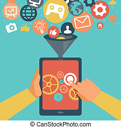 ベクトル, モビール, app, 開発, 概念