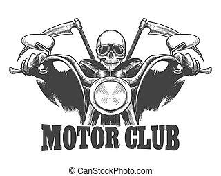 ベクトル, モーター, バイカー, ガラス, クラブ, scythes., 紋章, 引かれる, オートバイ, 死, 彫版, style., シンボル, イラスト