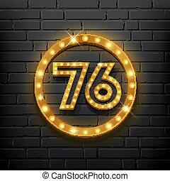 ベクトル, ライト, ブロック, 数, の上, seventy-six, 金の壁