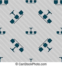 ベクトル, ライト, 印。, seamless, ランプ, シャンデリア, パターン, 幾何学的, texture., アイコン