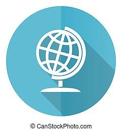 ベクトル, ラウンド, 地球, 世界, 地図, 10, 平ら, 青, 隔離された, 白い背景, アイコン, デザイン, eps, 全体的な地球, イラスト