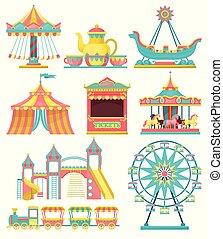 ベクトル, ラウンド, 要素, 車輪, テント, セット, 背景, サーカス, 公園, イラスト, フェリス, 列車, デザイン, ブース, 陽気, 行きなさい, 白, 切符, 娯楽, 回転木馬