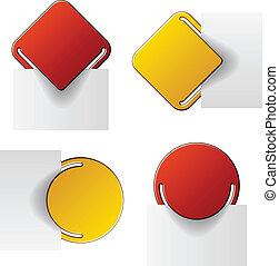 ベクトル, ラベル, 付けられる, 赤い黄色