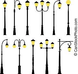 ベクトル, ランプ, セット, 通り, イラスト