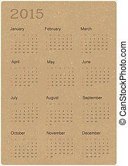 ベクトル, リサイクルされる, ペーパー, 2015, カレンダー, 手ざわり