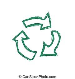 ベクトル, リサイクルしなさい, グランジ, シンボル, イラスト
