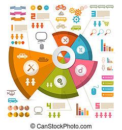 ベクトル, レイアウト, infographics