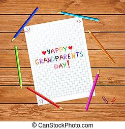 ベクトル, レタリング, checkered, シート, カラフルである, 祖父母, 手, ノート, 引かれる, 子供, 日, 幸せ