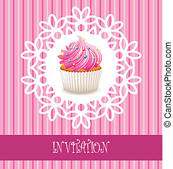 ベクトル, レトロ, カード, cupcake