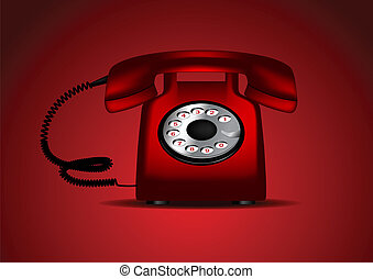 ベクトル, レトロ, 赤い電話