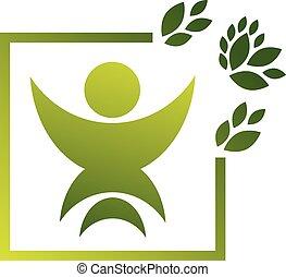 ベクトル, ロゴ, を除けば, 人間, 緑