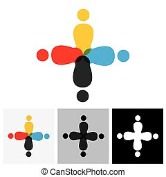 ベクトル, ロゴ, アイコン, の, 人々が中にいる, 円
