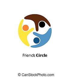 ベクトル, ロゴ, アイコン, の, 人々が中にいる, circle.