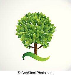 ベクトル, ロゴ, イメージ, シンボル, 生活, 木, デザイン