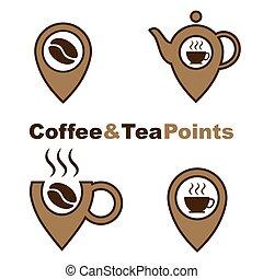 ベクトル, ロゴ, コーヒー セット, 要素, ビジネス, ロゴ, ポイント, お茶, ラベル, 隔離された, ...