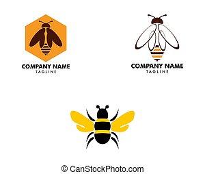 ベクトル, ロゴ, セット, テンプレート, 蜂, デザイン