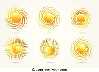 ベクトル, ロゴ, セット, 太陽