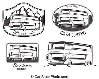 ベクトル, ロゴ, セット, bus., 観光客