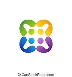 ベクトル, ロゴ, チームワーク, グループ, シンボル, 人々, デザイン, アイコン