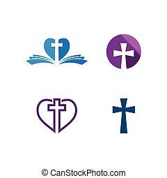 ベクトル, ロゴ, テンプレート, セット, 教会, デザイン