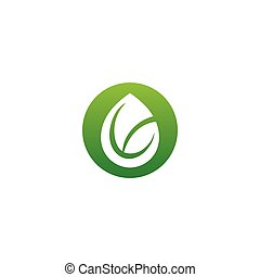 ベクトル, ロゴ, テンプレート, 低下, 葉, シンボル, イラスト, 水