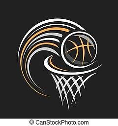 ベクトル, ロゴ, バスケットボール