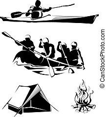 ベクトル, ロゴ, ラベル, 紋章, キャンプ, いかだで運ぶこと
