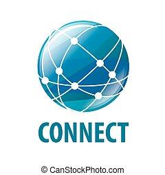 ベクトル, ロゴ, 世界的である, 世界的に, ネットワーク