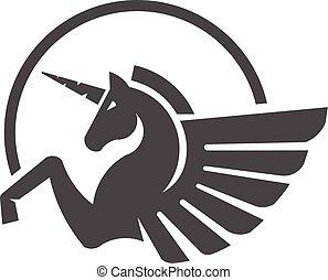 ベクトル, ロゴ, 単純である, monogram, 色, 一角獣