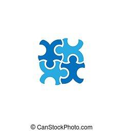 ベクトル, ロゴ, 困惑, デザイン, チームワーク