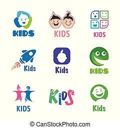 ベクトル, ロゴ, 子供, セット, 子供