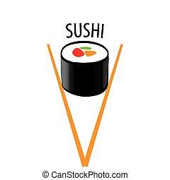 ベクトル, ロゴ, 寿司, 日本語, 箸