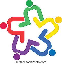 ベクトル, ロゴ, 抱擁, チームワーク