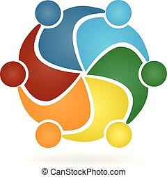ベクトル, ロゴ, 抱擁, チームワーク, 人々