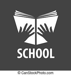 ベクトル, ロゴ, 本を 開けなさい, 中に, 彼の, 手