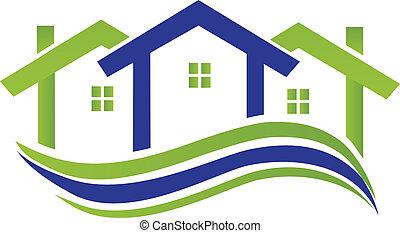 ベクトル, ロゴ, 波状, 家