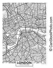 ベクトル, ロンドン, 都市 地図, ポスター