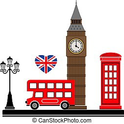 ベクトル, ロンドン, symbols., city., イラスト