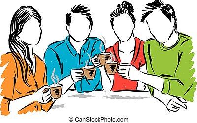 ベクトル, 一緒に, コーヒー, 飲むこと, イラスト, 友人