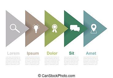 ベクトル, 三角形, ステップ, infographic, 5, テンプレート, アイコン