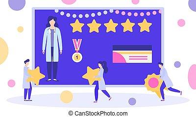 ベクトル, 上, 最も良く, スコア, メダル, 星, 賞, 勝者, illustration., 5, reviews., rated, 与えられる, 医者, 女