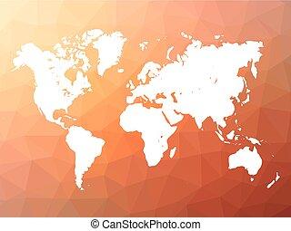 ベクトル, 世界地図, シルエット, 上に, 低い, poly, 背景