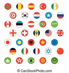 ベクトル, 世界, セット, 旗, アイコン