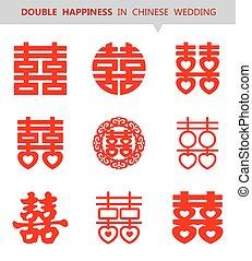 ベクトル, 中国語, shuang, xi, (double, happiness), シンボル, セット