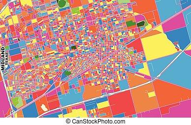 ベクトル, 中部地方, テキサス, アメリカ, カラフルである, 地図