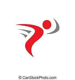 ベクトル, 人々, フィットネス, 抽象的, 要素, ロゴ, デザイン, 動くこと