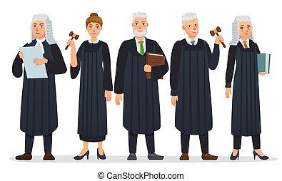 ベクトル, 人々, ローブ, 正義裁判所, 裁判官, 労働者, 衣装, 漫画, 黒, 裁判官, team., イラスト...